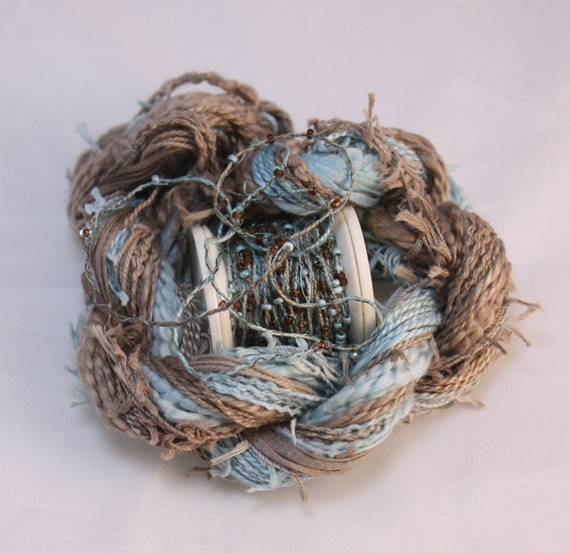 Duck egg blue brown beaded embroidery thread seed beads