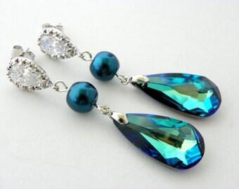 Peacock Bridesmaid Earrings Set of 8, Blue Bridesmaid Earrings, Peacock Wedding Ideas, Blue Long Swarovski Earrings, Blue Pearl Earrings