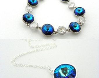 Peacock Blue Bridal Jewelry Set, Blue Wedding Necklace and Bracelet Set, Blue Swarovski Bridesmaid Jewelry Set, Peacock Wedding Jewelry