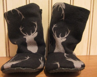 SALE** Deer baby boots- non slip sole - flexible shoes. Black and Grey