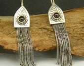 Long tassel earrings, Sterling silver chain tassel and deep red garnet, Etruscan, post Byzantine style jewelry