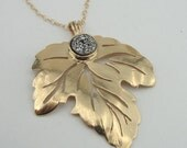 Leaf sterling silver & 24k plated gold pendant necklace with Druzy Agate and gold filled chain, round gold pendant ( V NGF50097SDA )
