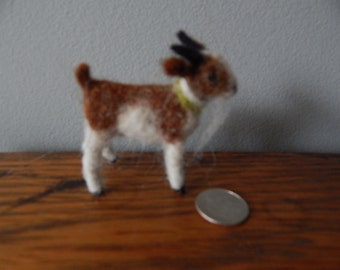 minature goat,  needle felted doll house size
