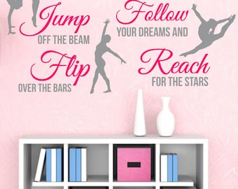 GYMNASTICS Subway Art 2-Color SPORT Girl QUOTE Vinyl Wall Decals Art Stickers