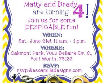 Minions Birthday Party Invitation, Twins, Siblings