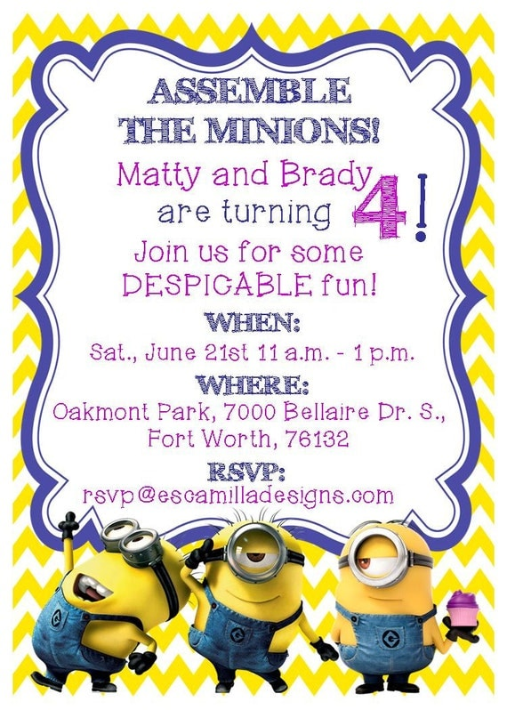 minions birthday party invitation twins siblings, Birthday invitations