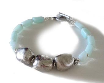 Blue Peruvian Opal Silver Nugget Bracelet