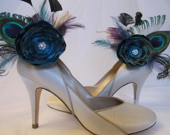 Dark Teal Bride Shoe Clips, Peacock Shoe Clips, Teal Jade Wedding Shoes, Bride Shoe Accessories, Steampunk Rustic Wedding Shoe Clips