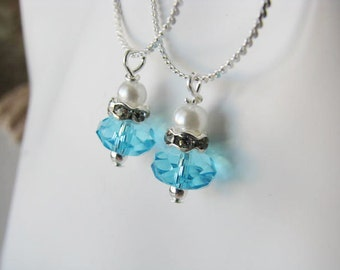 Great Bridesmaids gifts Turquoise Bead Chain Necklace Beach Wedding Party Jewelry