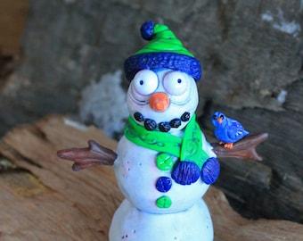 Snowman Heart Polymer Clay Sculpture