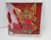 Vintage brass angel Christmas ornament 3D brass angel original box Pay n save Merry Cheers brass angel art deco angel