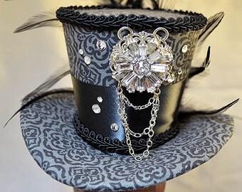 Grey and Black Mini-Hat - Bejeweled