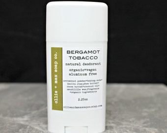 Bergamot Tobacco Natural Deodorant, Organic Deodorant, Vegan Deodorant, Tube Deodorant, Deodorant For Men