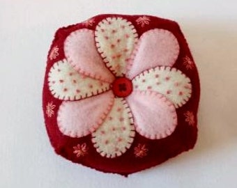 Hand Embroidered Felt Pin Cushion in Dark Red  Burgundy with White and White and Pink Flower