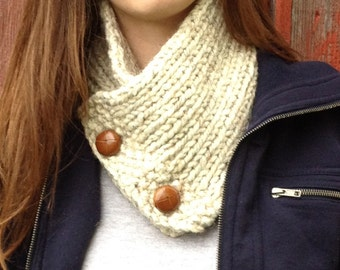 Women's Beige Neck warmer Oatmeal and Leather