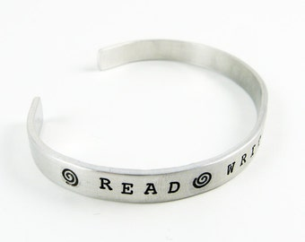 Writer Bracelet with Read, Write, Repeat (Jewelry for Writers, Novelist, Writing, Quote on Aluminum Cuff)