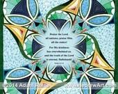 "Psalm 117:1-2 - ""Praise the Lord, All Nations, Praise Him""  - Illuminated Judaica Jewish Hebrew Art Signed Bar Bat Mitzvah Gift Print"
