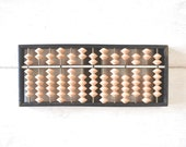 Wooden Abacus Japanese Soroban Antique 1800s Two and Five Beads Edo Era Counting Device