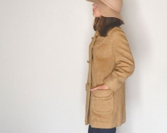 Camel Wool Coat 60s Vintage Graff Commuter Fuzzy Beige Winter Jacket Medium