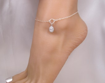Crystal Clear Sparkle Ankle Bracelet Sterling Silver CZ Charm Anklet, Purchase with or without optional Toe Ring and Chain