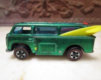 Vintage 1969' redlines 'Hotwheels' Beach Bomb' Volkswagen van with surfboards!