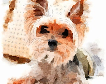 Yorkie, Yorkshire Terrier, Dog, Watercolor, Art Print