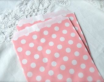 Pink Polka Dot Paper Bags, Favors, Wedding, Baby, Candy or Treats, Merchandise Bags 10 bags