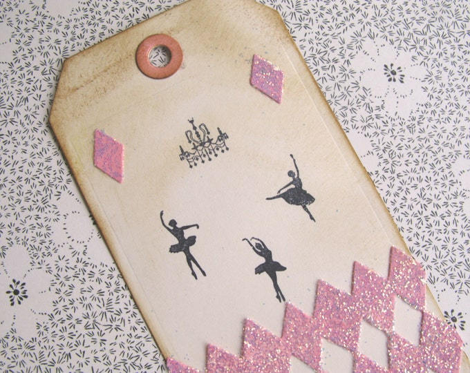 Large Ballerina Gift Tags, Pink and Black, Hand Stamped Paper, Harlequin, Chandelier, Pink Glitter, Vintage Style, Aged- 4 tags