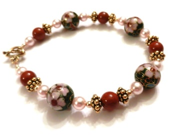 Green Cloisonne Bracelet With Rust Glass Beads & Swarovski Pearls