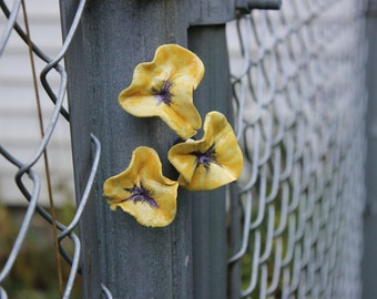 Yellow Pansy Flower Magnets