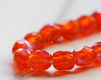 50 Pieces / Czech Fire Polish / Glass / Faceted Round / Hyacinth AB (X9004//M435)