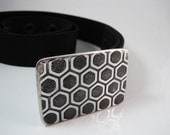 Hexa Pattern Belt Buckle - Etched Stainless Steel - Handmade