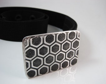 Hexa Pattern Belt Buckle - Etched Stainless Steel - Handmade