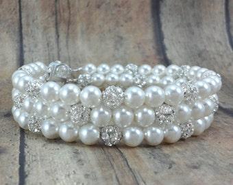 Pearl Bracelet, Three Strand Pearl Bracelet with Rhinestones, Bride Bracelet, Pearl Bridal Jewelry, Bride Jewelry, Pearl Bridal Bracelet