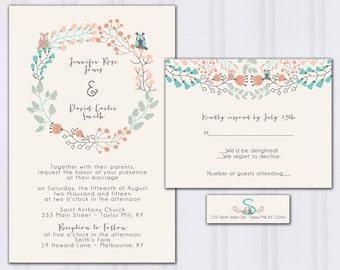 Owl Wedding Invitations, Floral Boho Wedding Invitation, Blue and Peach Wedding, Blue and Gray, Discount Wedding Invites