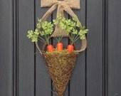 "Spring Wreath Summer Grapevine Door Basket Wreath Decor..""Garden Carrots"""