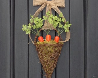 "Spring Wreath-Summer Grapevine Door Basket Wreath Decor-Kitchen-Easter-Orange Carrots-Artificial-Moss-Burlap Ribbon-""Garden Carrots"""