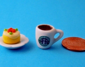 Dollhouse Starbucks White Mug with Coffee and A Fruit Pie  for 1/12 Scale