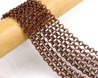 Chain : Antique Copper Petite Rolo Chain / Red Copper Cross Chain - 2.5mm x .8mm ... SOLD per 16 FEET -- Lead, Nickel & Cadmium Free 70316