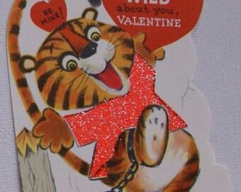 1960s vintage glittery tiger cub valentine, unused
