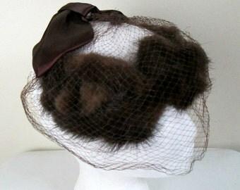Dark Mink Halo Crown Hat Satin Bow Netting / Vintage 1950s Mid Century Fur Spectator
