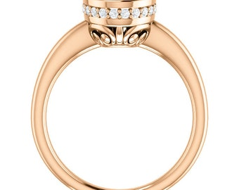 Natural AAA 10x8mm Oval  Morganite  Solid 14K Rose  Gold  Solitaire Engagement  Ring Set- ST233557