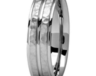 Palladium 500 personalized Wedding Band with Hammered Finish , Your  Fingerprint engraved Band  6mm  PDS073