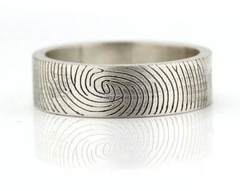 Fingerprint Ring - Sterling Silver Engraving Wedding Band, flat 6mm