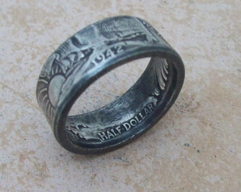 Unique HaNDMaDe CHRiSTMaS GiFT For Dad Silver Coin Ring Walking Liberty 1942 Half Dollar 90% Fine Silver Jewlery Siz 11 3/4