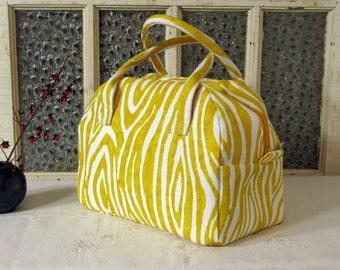 Bowling Bag Handbag Zippered Purse Yellow Woodgrain