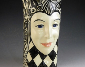 Face vase, ceramic black and white harlequin hand painted OOAK hand made