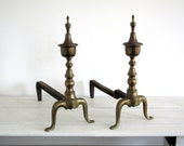Antique Brass Metal Andiron - Industrial Decor - Fire Place - Hearth
