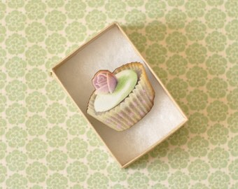 Betty Wooden Cupcake Brooch