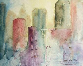 Print Of Original Watercolor Painting, The Street Light, watercolor art, watercolor print, city painting, watercolor landscape, city street